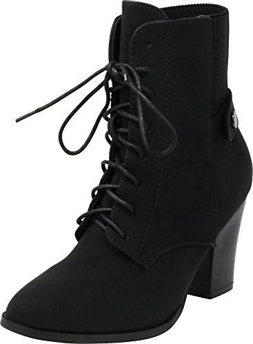 Cambridge Select Women's Closed Toe Lace-up Chunky Stacked Block Heel Ankle Bootie,9 B(M) US,Black -