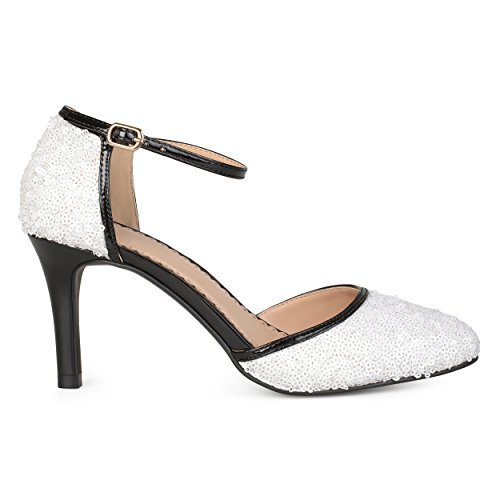 Brinley Co Donna Sequin In Ecopelle Piping Mary Janes Bianca
