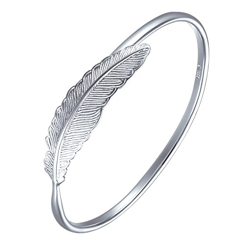 SA SILVERAGE 925 Sterling Silver Women Feather Bracelet Adjustable Cuff Mother's Day-Gift Package ()