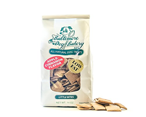 Baltimore Dog Bakery All-Natural Dog Treats, Little Bites - Apple Cinnamon, Low Fat, 14-Ounce Bag, Made in the (Dog Bakery Low Fat)