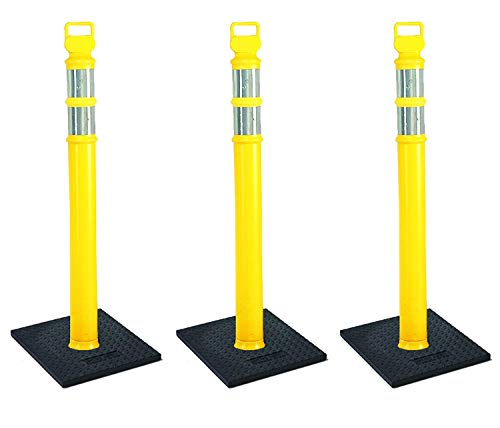 Cortina EZ Grab Delineator 45'' Post, 3'' Hip Collars with 10 lb Base, 03-747YRBC-3, Yellow, 3 Pack (4 X Pack of 3) by Cortina (Image #1)