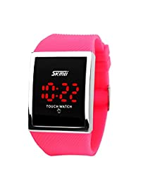 LinTimes Kid's Boys Girls Touch Screen Watch 30M Water Resistance Digital LED Sport Casual Wristwatch Rose Red