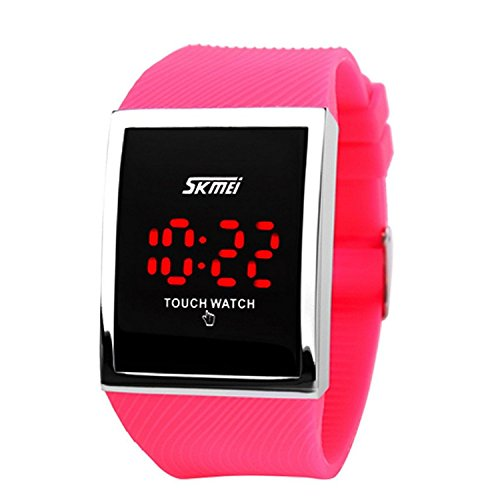 LinTimes Kid's Boys Girls Touch Screen Watch 30M Water Resistance Digital LED Sport Casual Wristwatch for Teenagers Rose Red