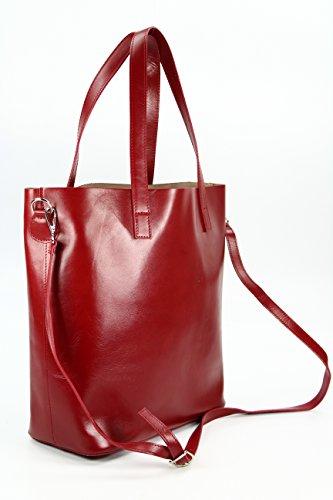 BELLI ital. Designer Leder Handtasche Shopper - schwarz | braun | rot | cognac - Farbauswahl - 32x36x15 cm (B x H x T) Rot BiUELG7gY