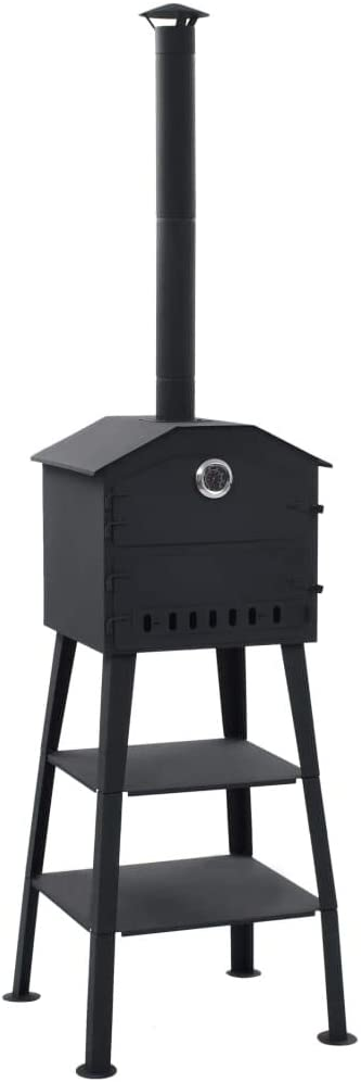 Unfade Memory Outdoor Pizza Oven Charcoal Fired Pizza Maker with 2 Fireclay Stones for Garden Chimney Smoker Bread