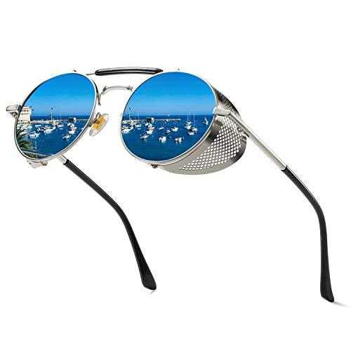 (Vanlinker Steampunk Sunglasses for Women Men, Retro Round Unisex Polarized Eyewear Glasses UV400 VL9504 )