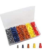 180PCS Electrical Wire Connectors Screw Terminals, Easy Twist On Connector Kit with Spring Inserted Cap Connections Assortment Set - Gray, Blue, Orange, Yellow and Red Connectors with Storage Box