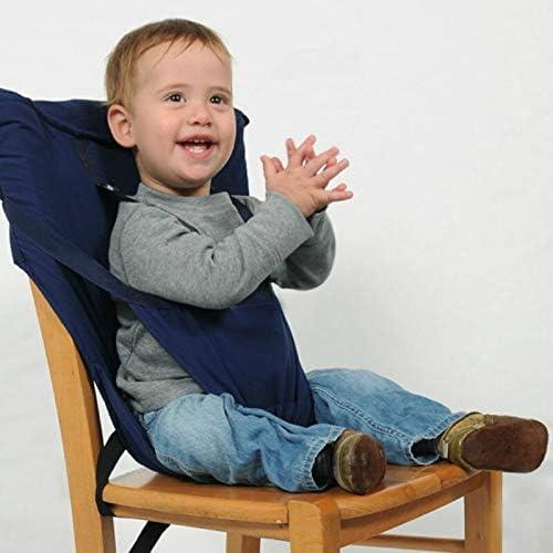 ベビー用品 あんぜんそうち CZベビーポータブルシートキッズチェアトラベル折り畳み式洗える幼児ダイニングシートカバー安全ベルト(レッド) (色 : 青)