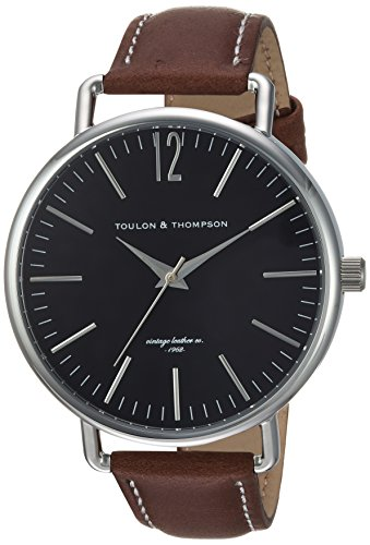 Toulon Thompson TT5002 Stainless Steel Classic Men s Watch With Genuine Leather Band