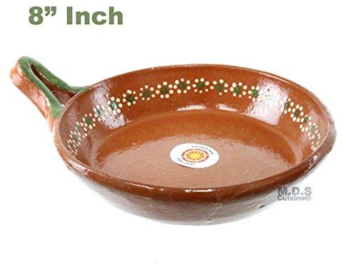 Fry Pan de Barro Traditional Authentic 100% Lead Free Mexican Clay Floral Sarten Artisan Artezenia (8