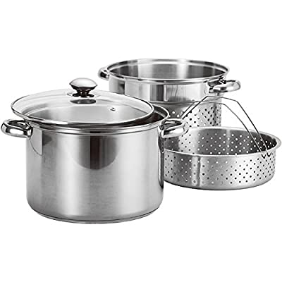 4-piece Stainless Steel Stock Pot and Pasta Steamer Set has durable construction and riveted handles