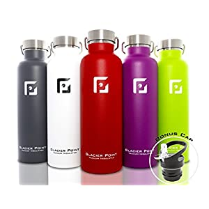 Glacier Point Vacuum Insulated Stainless Steel Water Bottle. Double Walled Construction.(25oz / 750ML White)