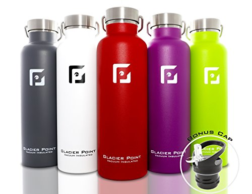 Best Vacuum Insulated Stainless Steel Water Bottle (25oz / 750ml). Double Walled Construction. Zero Condensation! By Glacier Point (Red)