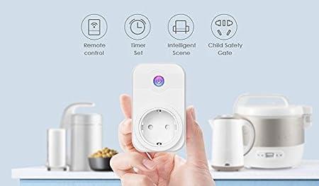 El enchufe WiFi inteligente inalámbrico funciona con Alexa y Google Home, sin necesidad de concentrador Control remoto Control de voz Toma de corriente Toma ...