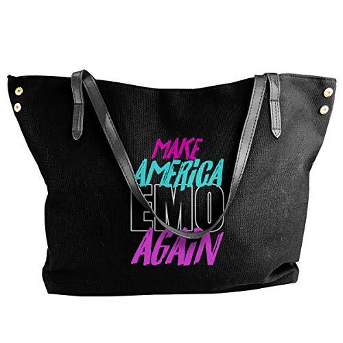 Women Tote Bags Make America Emo Again Canvas Shoulder Handbags