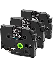 Replacement for Brother TZe-335 P-Touch Label Tape White on Black TZ Tape 12mm 0.47 Inch Standard Laminated Compatible with Label Makers PTD200 PTH110 PTP300BT, 3-Pack