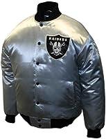 NFL Men's Oakland Raiders Prime Silver Satin Jacket