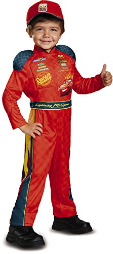 Cars 3 Lightning Mcqueen Classic Toddler Costume, Red, Small (Race Car Driver Costume Toddler)