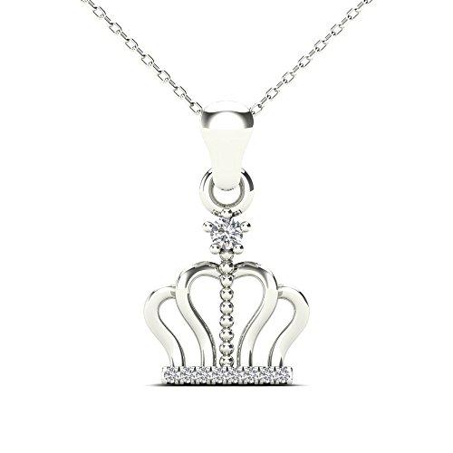 JewelAngel 10k White Gold Diamond Accent Crown Pendant Necklace (H-I, I1-I2) ()