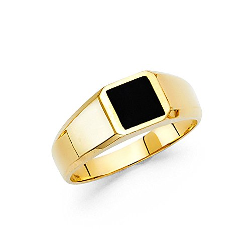 Mens Fancy Onyx (Solid 14k Yellow Gold Square Onyx Ring Mens Band Black Stylish Plain Design Polished Finish Fancy, Size 10)