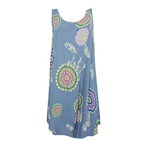 Simpson Nordstrom Jessica - Women's Sleeveless Dress, Casual Swing T-Shirt Loose Dress Vintage Bohemia Pattern Summer Mini Dress Holiday Beach Dress Navy