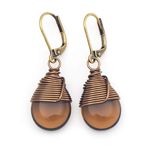 Brown Czech glass wire-wrapped drop antique bronze tone lever-back earrings -