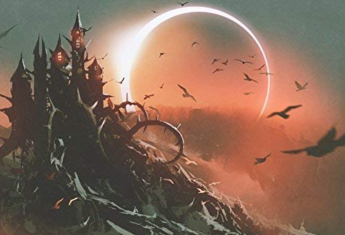 Horrible Haunted Castle Halloween Theme Backdorp 10x6.5ft Vinyl Photography Backgroud Solar Eclipse Flying Bat in Dark Red Sky Backdrop Digital Art Style Children Adult Photo Shoot
