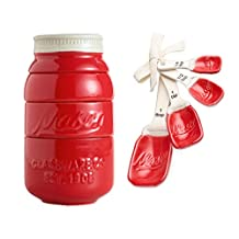Red Ceramic Mason Jar Kitchenware Measuring Set Bundle - 2 items: Measuring Cups and Spoons by World Market