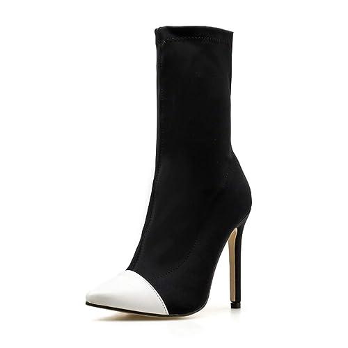 Scarpe Donna Caviglia Puntato Tacchi Alti Slip-On Calzino Moda Stivali  Chelsea ada4ad107e9