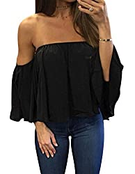Women?��s Summer Off Shoulder Chiffon Blouses Short Sleeves Sexy Tops Shirt Fashion Casual Ruffles Solid Loose Fit Blouses T Shirt S Black