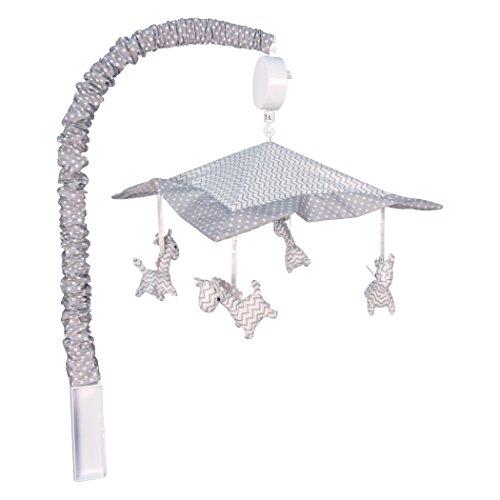 Trend Lab Safari Zebra Musical Crib Mobile, Gray Jungle Friends Baby Mobile, Jungle Animal Nursery ()