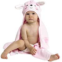 Baby Bath Towel with Hood - Soft Animal Face Terry Cloth Wrap (Pink Bunny)