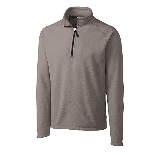 Clique New Wave MQO00027 Men's Half Zip Microfleece Polo Sweater, Silver - S by Clique