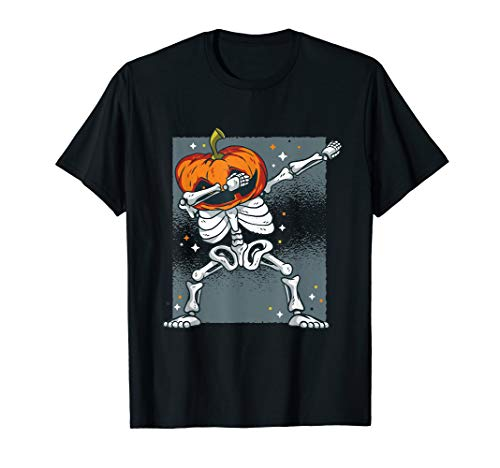 (Dabbing Skeleton Pumpkin Head T Shirt - Halloween Dab Gifts)