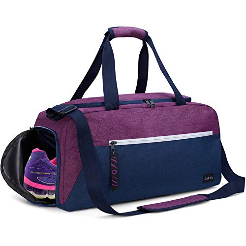 Rotot Sport Duffel Bag, Gym Bag with Waterproof Shoe Pouch, Weekend Travel Duffle Bag with a Water-resistant Insulated Wet Pocket Cooler (33L) (Purple) -