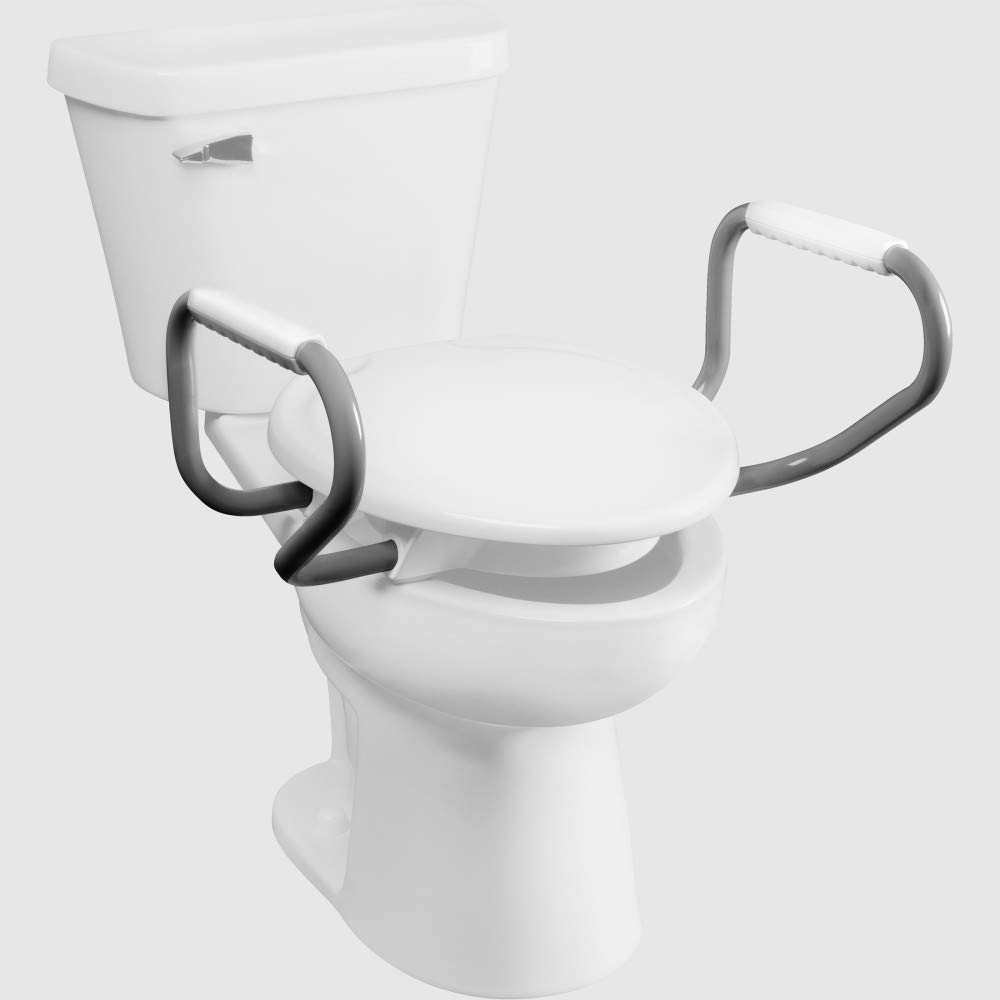 BEMIS Independence 7YA85303 GRY Aluminum Support Arms with Plastic Hand Grips for Clean Shield 3'' Elevated Toilet Seat, Grey by Bemis Independence