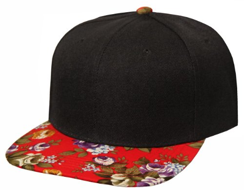 Vintage Style Floral Pattern Flat Bill Snapback (Black with Red Floral)
