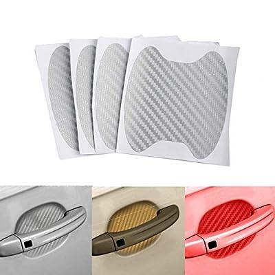 Emoly 12Pcs Universal 3D Carbon Fiber Car Door Handle Paint Scratch Protector Sticker Auto Door Handle Scratch Cover Guard Protective Film (Silver): Electronics