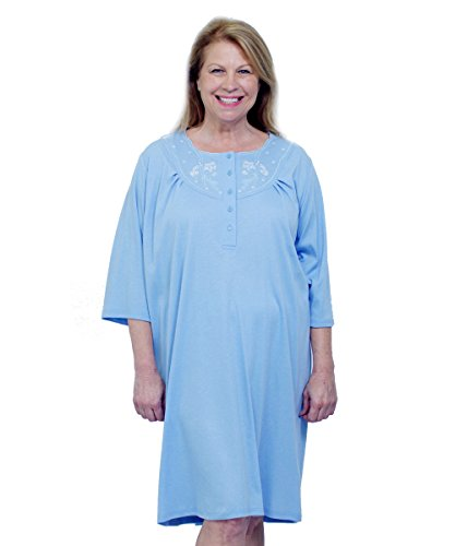 Silverts Womens Adaptive Cotton Knit Hospital Gown - Assisted
