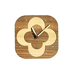Handmade Modern Wall Clock From Natural Wood Veneer , Flower Layer Engraved for Gift and Home Decoration, Model No. 70020