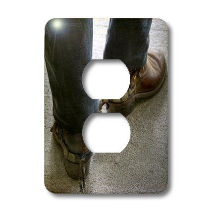 lsp_98397_6 Roni Chastain Photography - man with cowboy boots with spurs - Light Switch Covers - 2 plug outlet cover