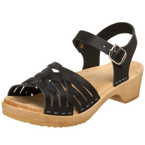 Swedish Hasbeens Braided Low 730 - Sandalias de vestir de cuero para mujer Negro (Schwarz (Black))