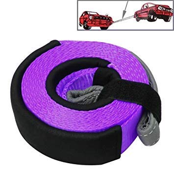 Uniqus 5m x 5cm 8 Ton Towing 2 Ton Lifting High Strength Heavy Duty Car Towing Lifting Rope Straps (Purple)