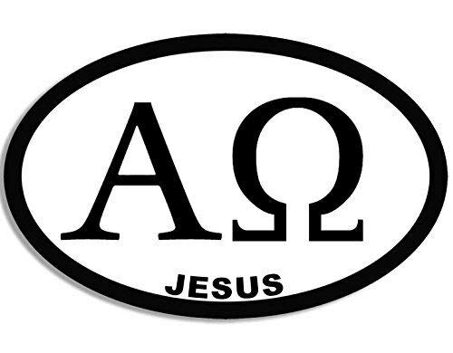 JR Studio 3x5 inch Oval Alpha and Omega Symbol Jesus Sticker (Christian Catholic) Vinyl Decal Sticker Car Waterproof Car Decal Bumper Sticker (Bumper Omega)