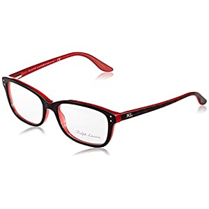 Ralph Lauren Eyeglass Frames RL6062 5255-52 - Top Havana / Red Frame, Demo Lens RL6062-5255-52