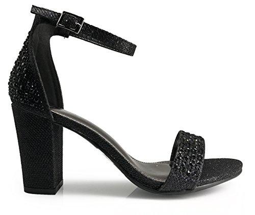 Ivk Donna Open Toe Alta Metà Tacco Sexy Sandali Cinturino Alla Caviglia Sandali Scarpe Pompa Strass Da Sposa Scarpe Nere