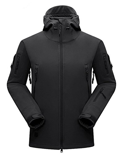 DLP Tactical Stalker Soft Shell Waterproof & Windproof Fleece Hooded Jacket (Large, Black)