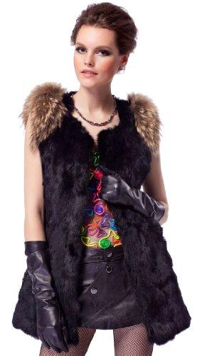 浮浪者交渉するレモンQUEENSHINY レディーズ ラビットファー100% ラクーンファー毛襟 ベスト ロング丈 毛皮 コート