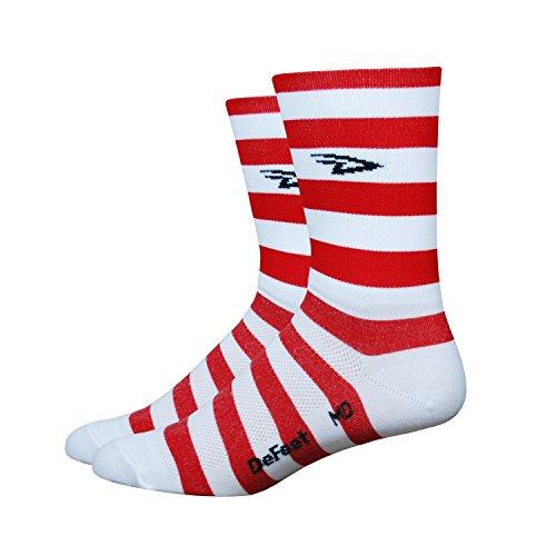 - DeFeet Aireator Striper Cuff Socks, Red/White, Large