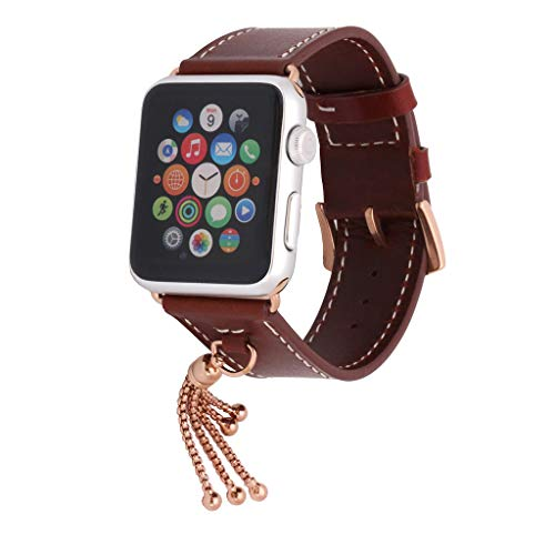 Sodoop Leather Band Compatible for Apple Watch Series 1/2/3/4 38 / 40mm, Soft Luxury Genuine Leather Bands Strap Bracelet Pendant Chain Bracelet for Apple iWatch Series 1/2/3/4 38 / 40mm